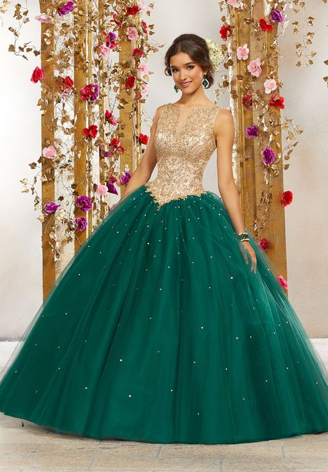 bc783f7895f This Mori Lee Valencia 60080 sweet 16 sleeveless tulle dress showcases a  rhinestone and gold beaded nude bodice with a notched Sabrina neckline.