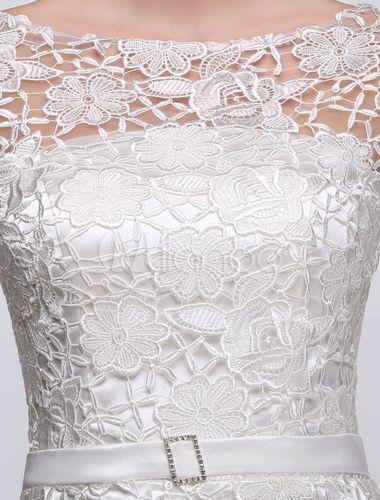 Summer Wedding Dresses 2018 Short Lace A Line Long Sleeve Bateau