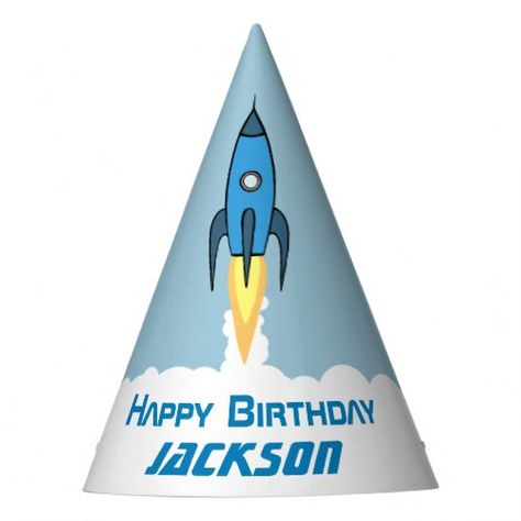 Blue Retro Rocket Ship Personalized Birthday Boy Party Hat | Zazzle.com