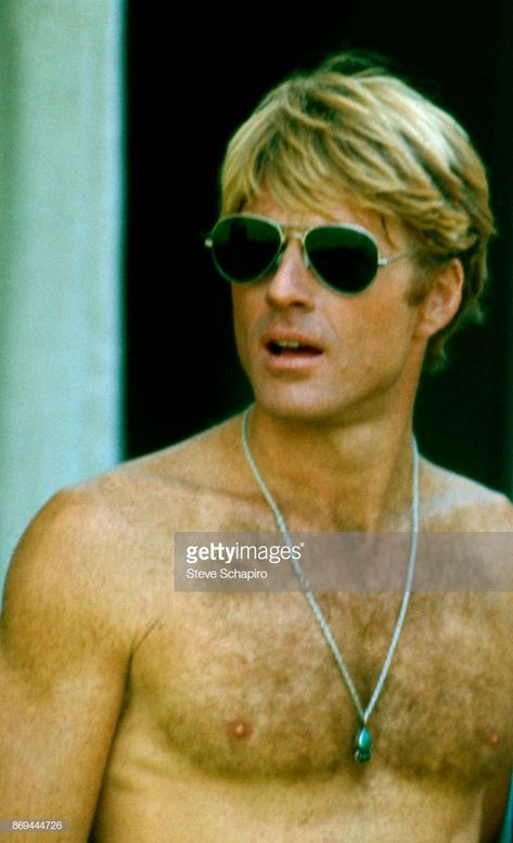 News Photo : View of American actor Robert Redford, shirtless...