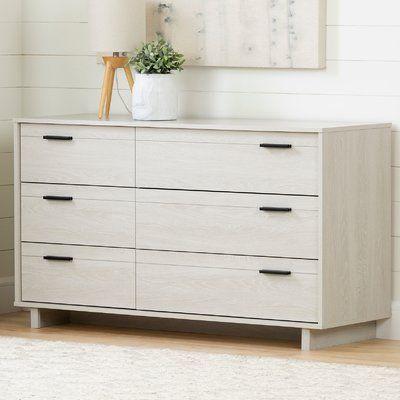 South Shore Fynn 6 Drawer Double Dresser Furniture Oak Dresser