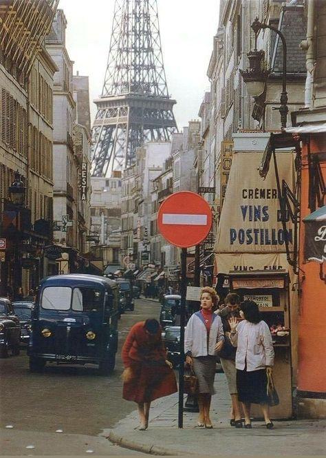"""Eiffel Tower in Paris, 1957 aesthetic """"La Tour Eiffel en 1957 depuis la rue Saint Dominique - Willy Ronis"""" City Aesthetic, Travel Aesthetic, Aesthetic Vintage, Aesthetic Girl, Aesthetic Women, Aesthetic Outfit, Summer Aesthetic, Aesthetic Fashion, Tour Eiffel"""