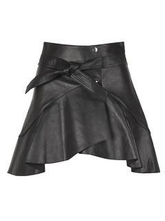 Jupe portefeuille courte ceinturée en cuir Noir by MAJE