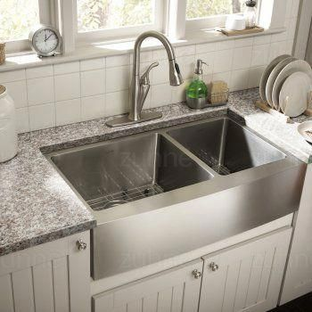 Zuhne Farmhouse Deep Double 16 Gauge Stainless Steel Kitchen Sink 33 Farmhouse Goals Stainless Steel Farmhouse Sink Best Kitchen Sinks Kitchen Remodel