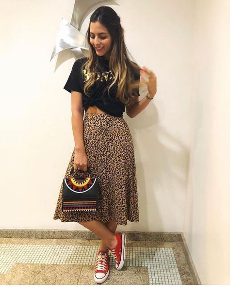 Cute leo midi skirt with red sport shoes #Women #Fashion