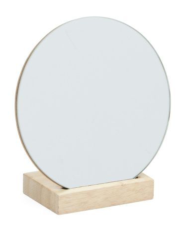 Circular Vanity Mirror On Wood Stand Tools Brushes T J Maxx