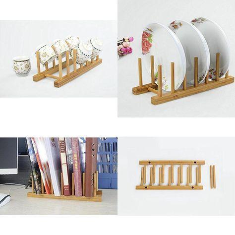 1PC Bamboo Drainer Stand Utensil Plate Organizer Dish Drying Rack Storage Holder