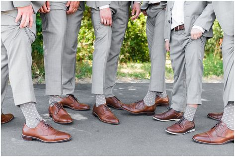 Groomsmen in gray suits and gray socks with pink polka dots   Oak Hills Utah Dusty Rose and Gray Summer Wedding   Jessie and Dallin Photography #utahwedding #utahsummerwedding #summerwedding #mountainwedding #rockymountainwedding #blushandgraywedding #blushandgray #oakhillsutah #utahweddingvenue