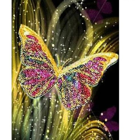 40cm X 30cm 5D DIY Diamond Painting Kit Full Round Drill Butterfly Gold Cross Stitch Rhinestone Diam