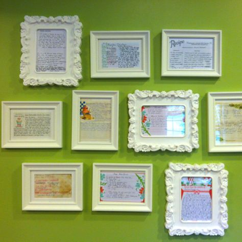 "Treasured family recipes framed with inexpensive ikea frames for the kitchen! Handwritten by those who made them ""famous"" including our parents, grandparents, and even great and great-great grandmothers."