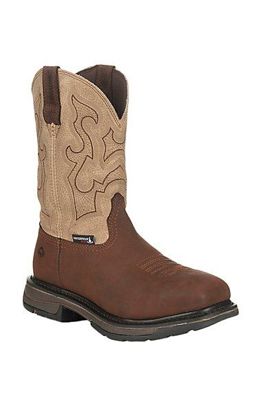 637c304ecae Wolverine Work Men's Lariat Brown and Sand with Square Toe Work ...