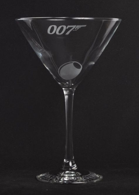 Etched 007 James bond martini glass by Jackglass on Etsy