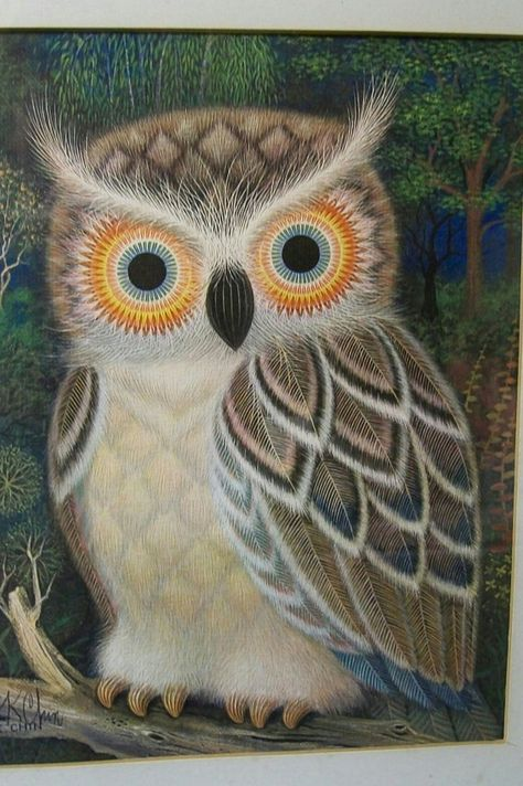 Mid Century Owl Picture Hand Signed K. Chin Owl print in by msink