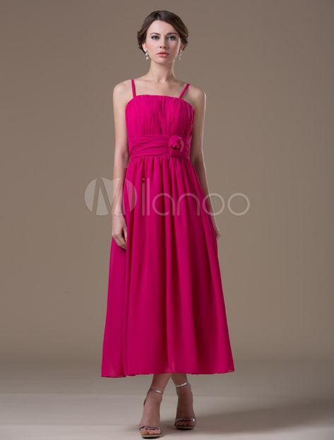 427dd5218b659 Maternity Bridesmaid Dress Hot Pink A Line Spaghetti Straps Flower Chiffon  Tea Length Party Dress #Hot, #Pink, #Line