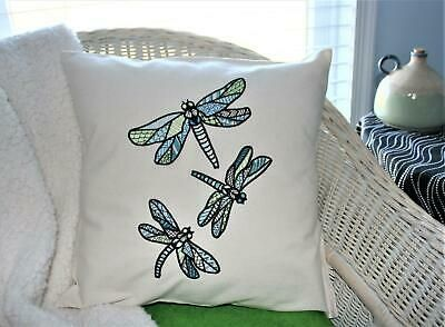 White Decorative Pillow With Three Embroidered Dragonfly Fashion