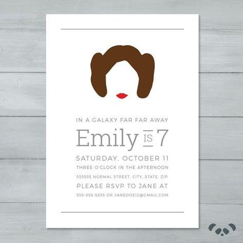 Princess Leia Star Wars Birthday Party Invitation