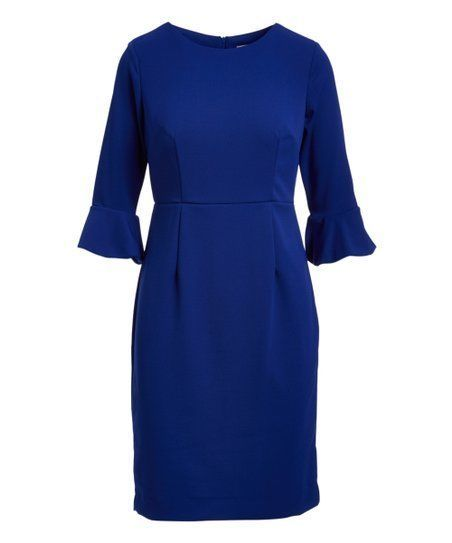 Shelby Palmer Office Career Blue Sapphire Bell Sleeve Sheath Dress Casual Shelbypalmer Sheathdress Anyoccasion Bellsl Dresses Casual Dresses Sheath Dress