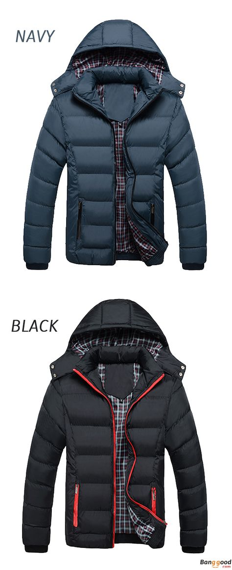 8c98398fd Mens Thick Solid Color Winter Hooded Deatchable Coat Slim Warm Jacket. Color:  Navy, Black. Keep Your Body Warm All Day.
