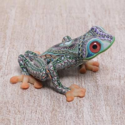 Colorful Polymer Clay Frog Sculpture (2.8 Inch), 'Vibrant Tree Frog'