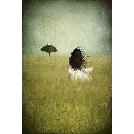 Girl On The Field Canvas Art - Majali (20 x 28)