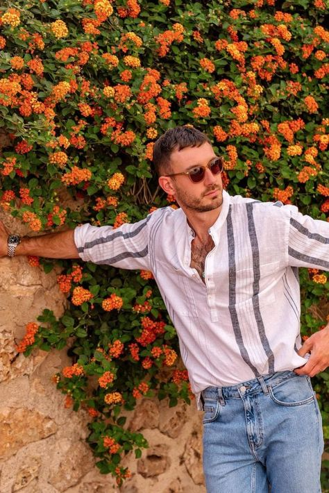 I recently went to Spain and paired this Zara linen crew neck shirt with pale blue washed denim and then some natural leather sandals. Its a great outfit that isn't too hot, looks smart but also casual.