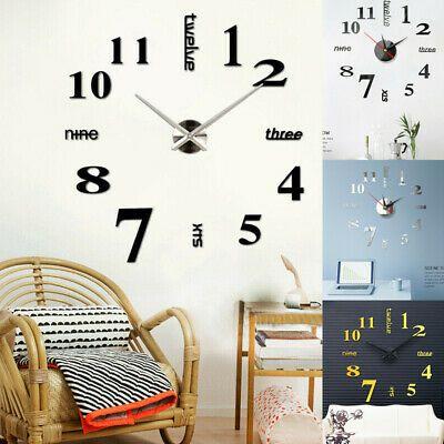 Details About 3d Modern Big Wall Clock Kit Diy Mirror Wall Sticker Home Decoration Art Kit Wall Stickers Home Wall Clock Kits Big Wall Clocks