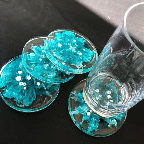 Oceana Coasters Set of 4 - set of Aqua round coaster, modern coaster, coaster set, drink co