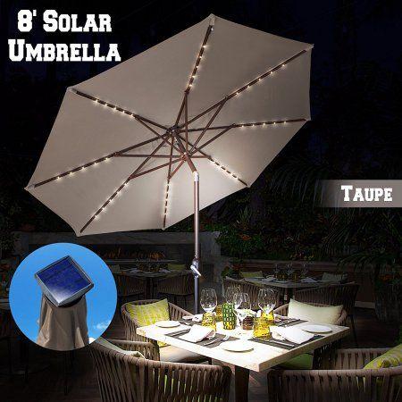 Strong Camel 13ft Solar Light Patio Umbrella Tilt Aluminum Sunshade Outdoor  Garden Market Balcony (Taupe