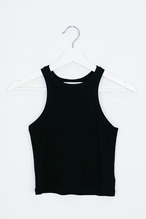 • Black high neck tank crop top available in black and/or white • Available in S, M, L • 95% Rayon, 5% Spandex • Hand wash. Lay flat to dry
