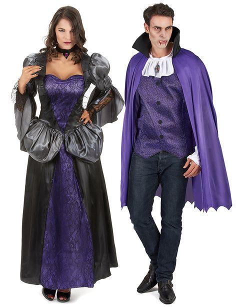 Déguisement de couple vampire violet Halloween  : Déguisement vampire femmeCe déguisement de vampire pour femme se compose d'une robe et d'un collier (perruque et chaussures non incluses). La robe longue possède des...