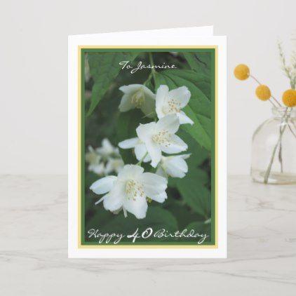40th Birthday Jasmine Flowers Elegant Cursive Card Zazzle Com 1st Wedding Anniversary Wishes Happy First Wedding Anniversary Wedding Anniversary Wishes