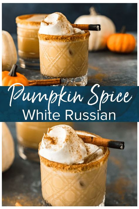 This Pumpkin Spice White Russian Cocktail is exactly what you need to be sipping on this season. This festive fall cocktail brings the perfect pumpkin flavor to a classic White Russian with the additi Fall Cocktails, Holiday Drinks, Halloween Cocktails, Craft Cocktails, Fancy Drinks, Yummy Drinks, Pumpkin Recipes, Fall Recipes, Coffee Recipes