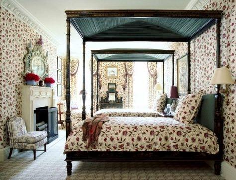 ideen schlafzimmer eklektisch mischung von mustern himmelbett - schlafzimmer himmelbett