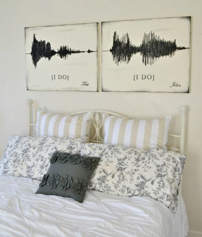 "<3 Sound Wave ""I Do"" Canvas Art Set {customizable} - Aimee Weaver Designs"