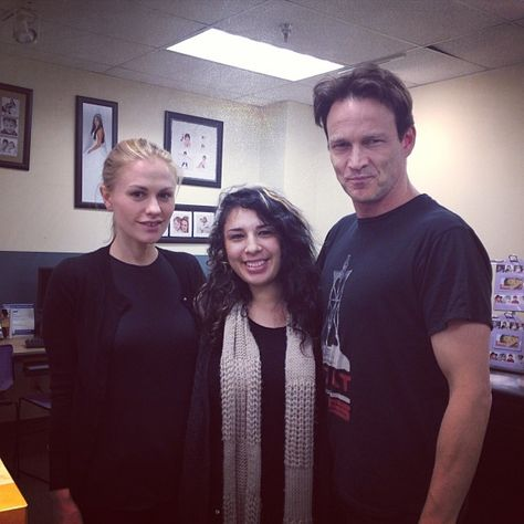 Steve and Anna pose with a fan