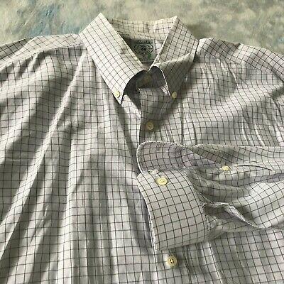 Brooks Brothers Sports Shirt Sz XL (17 35) Gray Plaid Button
