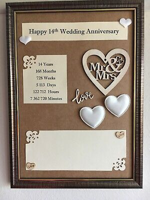 Details About 14th Wedding Anniversary Frame Rustic Gift Wooden 3d