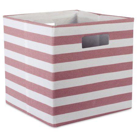 Design Imports Polyester Cube Stripe Rose Square 11 Inchx11 Inchx11 Inch 100 Polyester Red Size 17 Inch Pink Cube Storage Fabric Storage Cube Organizer