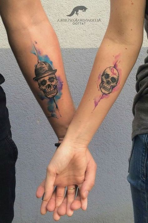 couples matching tattoos, two skulls, watercolor rose tattoo, couple holding hands