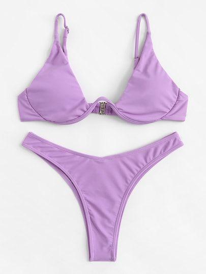 Romwe Sport Adjustable Straps Triangle Underwire Bikini Top With High Cut Bottoms Bikinis Set Women Black Sexy Swimsuit