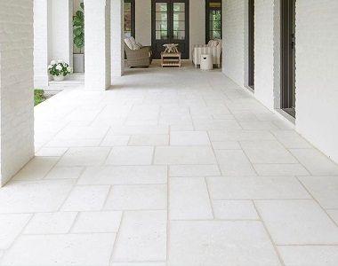white travertine french pattern tiles