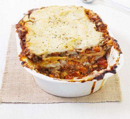 Vegan cooking made easy - this Italian bake uses cauliflower and soya milk for a white sauce and canned lentils as filling.
