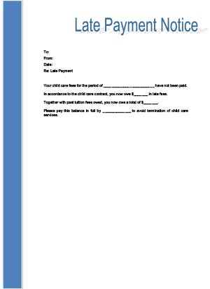 Late Payment Notice Printable for Child Care childcare forms - money receipt letter