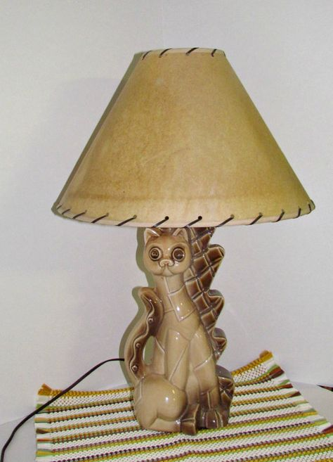 Mid Century Cat Table Lamp, Vintage Ceramic Lamp, MCM, Art