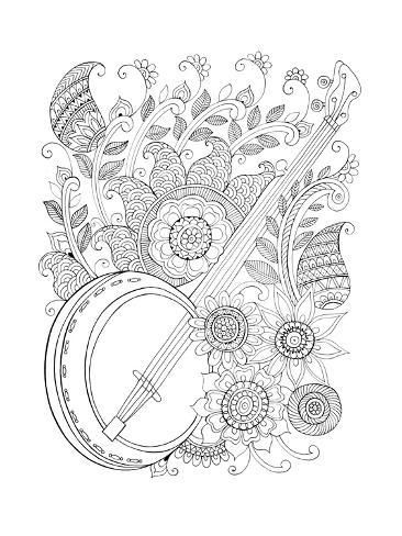 Art Print Musical Instrument Pattern 2 By Neeti Goswami 24x18in Music Coloring Cute Coloring Pages Mandala Coloring Pages