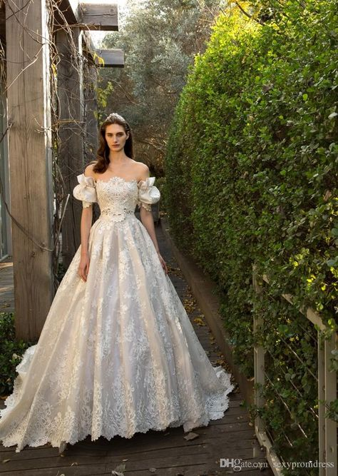 Fairy Lace Wedding Dresses 2016 Off Shoulder Juliet Short Sleeve A Line Bridals Gowns Sexy Backless Sweep Train Wedding Dresses With Bow Designer Wedding Dresses Cheap Lace A Line Wedding Dresses From Sexypromdress, $169.08| Dhgate.Com