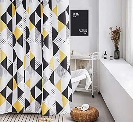 Amazon Com Yellow Shower Curtain Set White Geometric Bathroom Fabric Shower Curtain Heavy D Yellow Shower Curtains Vintage Shower Curtains Shower Curtain Sets