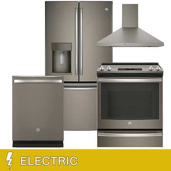 Ge 4 Piece Electric 22 2cuft Counter Depth French Door Kitchen Package Counter Depth French Door French Doors Kitchen Suite