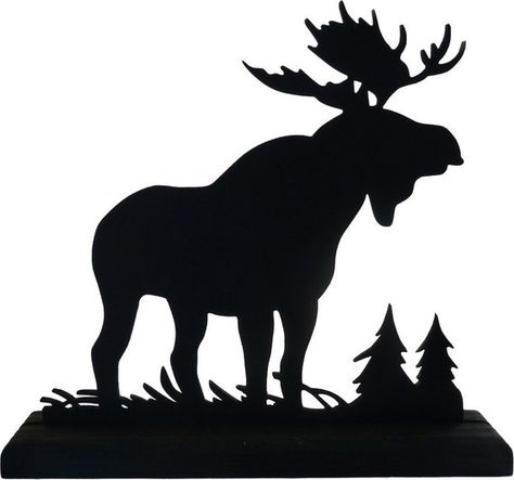 """This is a hand cut wood silhouette of a majestic moose, the king of our North America animals. It is cut from 1/8 Baltic Birch and includes a base of 1/2"""" Eastern White pine for easy display. The silhouette measures 6 x 6 1/2 including the base. It is painted with several coats in a"""