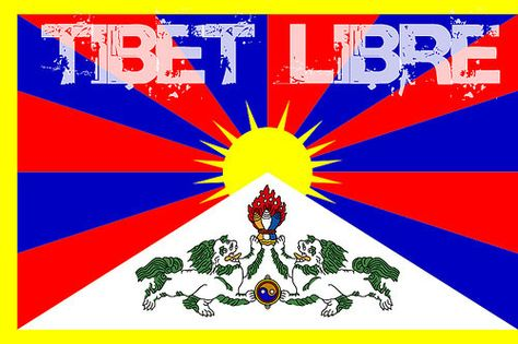"""/"""" Free Tibet /"""" Vintage Looking Hippy Peace Travel decal bumper Sticker"""